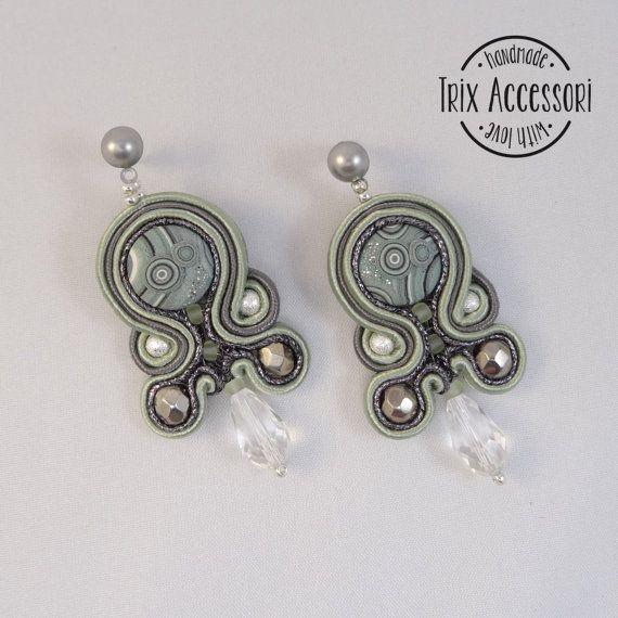 "Soutache pendant earrings ""Altea"", hand-sewn, bead embroidery, polymer clay, design earrings, modern, glass beads, gray, silver, sage green"