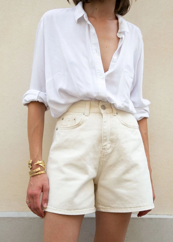 High Waisted Denim Shorts in Light Beige