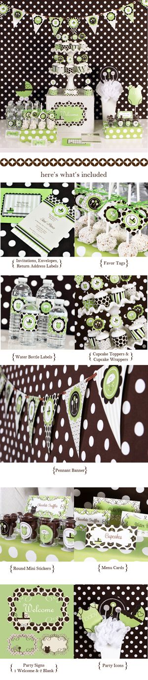 #cupcake display #party decorations #baby shower Green Baby Shower Mod Party Kit. $70