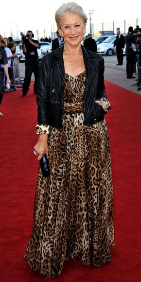 Helen Mirren--is it weird that I love her long printed dress and jacket combo for myself?  There is a huge age gap...