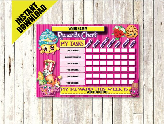 Shopkins Rewards Chart INSTANT DOWNLOAD Printable By CocoDelava  Child Reward Chart Template