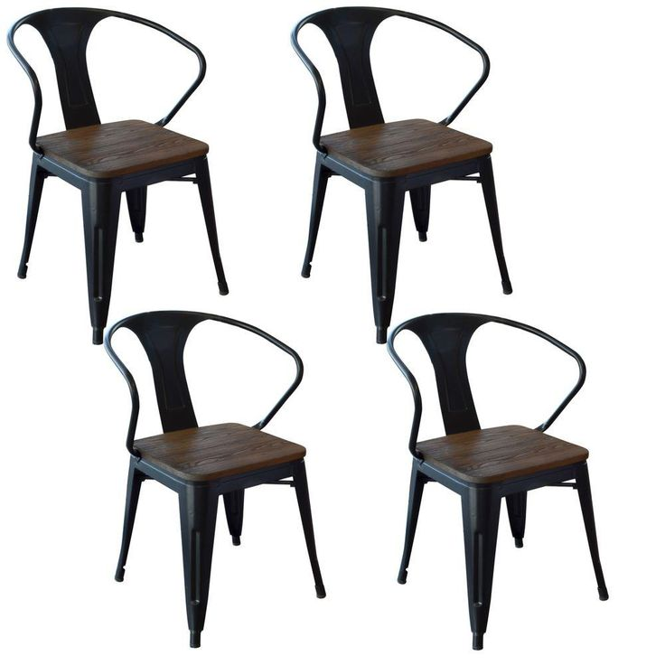 30 in. Loft Style Metal with Wood Seat Dining Chair in Black (4-Piece)