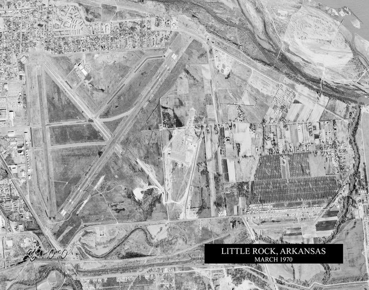 Historica Aerial Photo print of the Little Rock National Airport (Bill and Hillary Clinton National Airport) in Little Rock, Arkansas from March 1970.