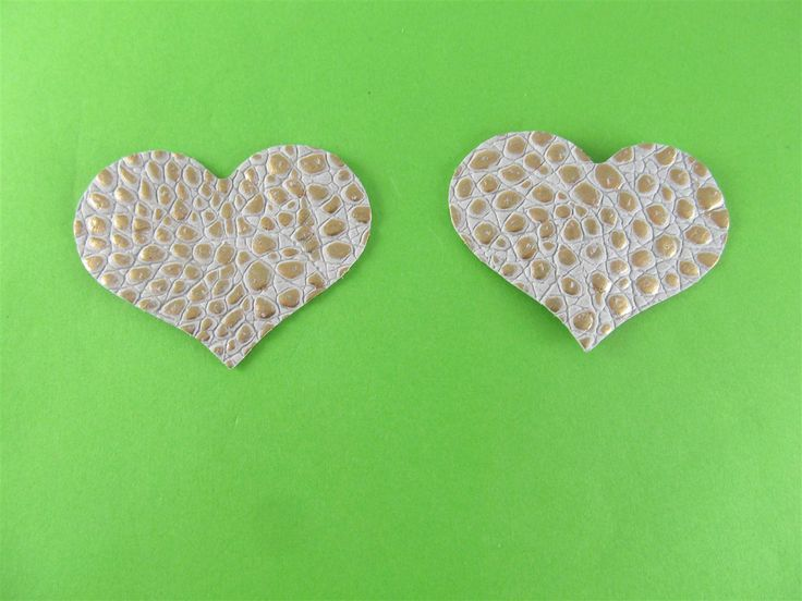 Embossed leather beige/gold hearts 55mm (2 pcs) DIY cut leather flowers Craft supplies Jewelry materials Leather pieces