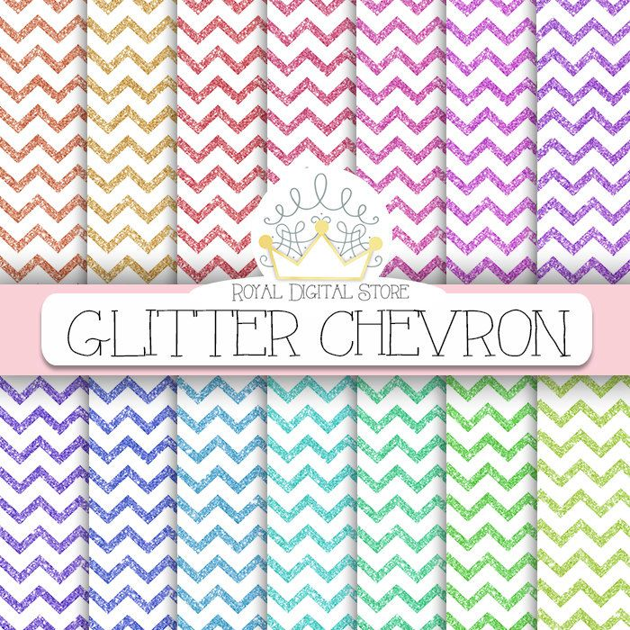 """Glitter Digital Paper: """" Glitter Chevron Digital Paper"""" with glitter chevron backgrounds in rainbow, pastel colors for scrapbooking, cards #glitter #colorful #planner"""