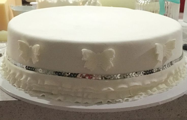 Bottom tier of 1st Birthday Cake : Chocolate Mud, Marshmallow Fondant