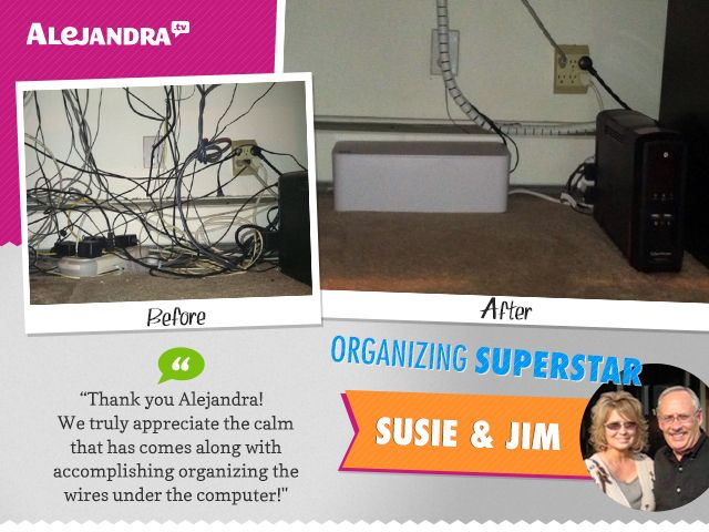 If messy wires and cords stress you out, meet Susie & Jim (Power Productivity Program Superstars)!  Not only did Susie & Jim take time to carefully untangle each and every wire, but as a result of decluttering their cords and adding organizing products, they freed up two additional outlets  And best of all, they did it as a TEAM!  Thank you Susie & Jim for showing us it's possible to get organized as a family!!   Learn more about the Power Productivity Program here…