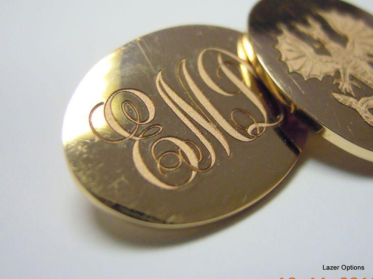 Initials on 18ct Yellow gold cufflinks.