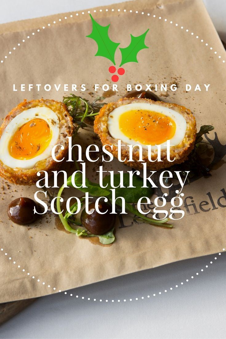 This turkey Scotch egg recipe by Paul Welburn pairs chestnuts and turkey with a heady spiced plum ketchup, making an ideal Christmas party snack.