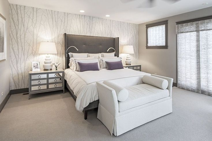 Modern Master Bedroom with Sunpan modern pandora wingback bed, Pasha cape upholstered bench, Ceiling fan, interior wallpaper