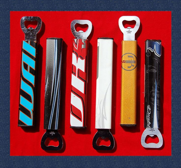 Bottle openers made out of recycled, broken hockey sticks?? Just in time for summer to come rolling along!