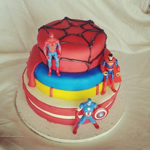 Super hero cake for my 5 year old boys birthday. Superman, spiderman, captain america.