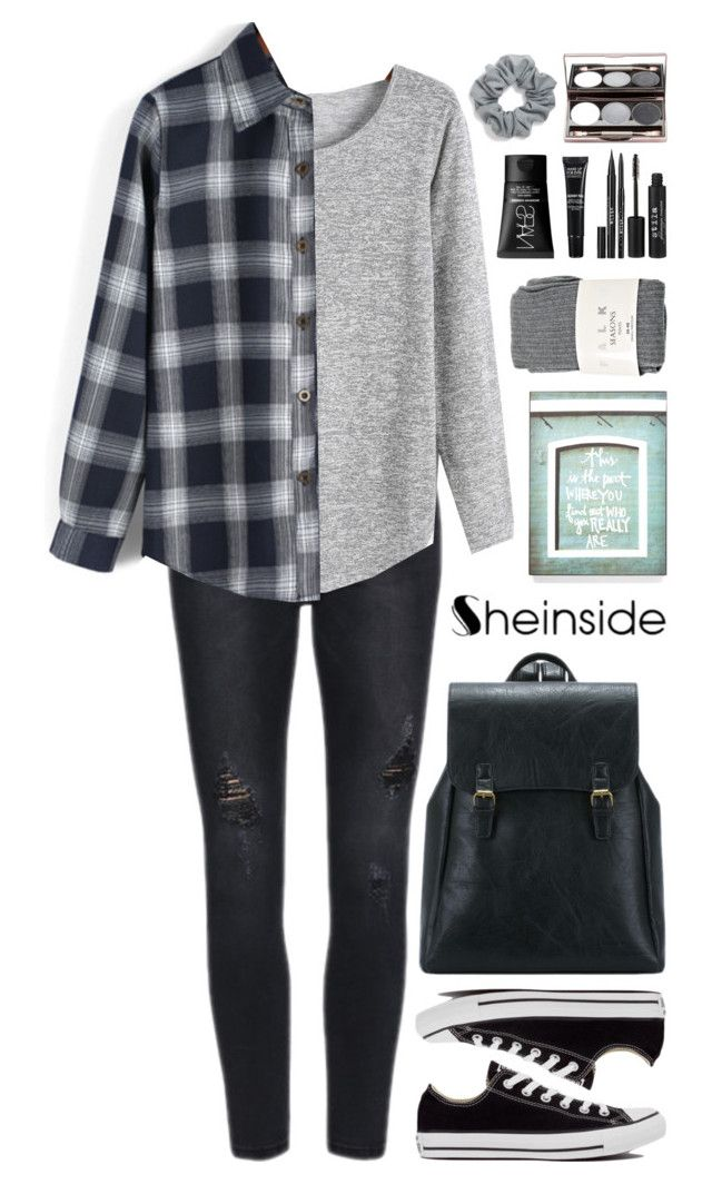 """""""SheIn 7"""" by scarlett-morwenna ❤ liked on Polyvore featuring Converse, Falke, Stila, MAKE UP FOR EVER, NARS Cosmetics, Natasha Couture and vintage"""