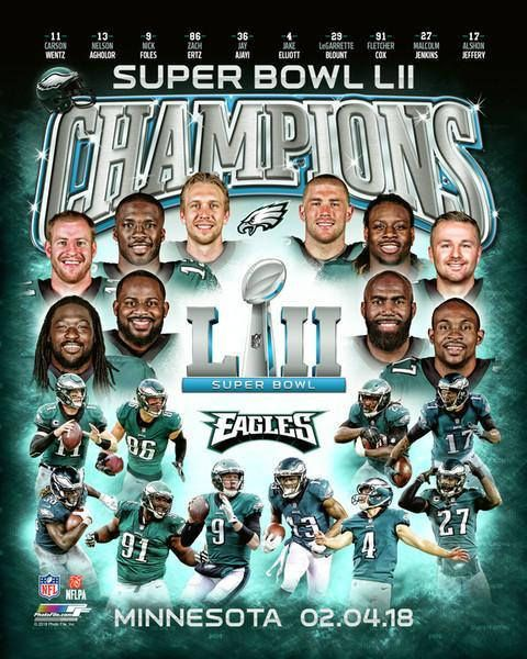 Philadelphia Eagles Super Bowl LII Champions NFL Licensed team 8x10 photo mounted on a 15x12 plaque with a 3 1/2 clock insert and an engraved nameplate with the 2017 regular season and post season game results. Winning bidder pays $12.99 for insured and tracked shipping and