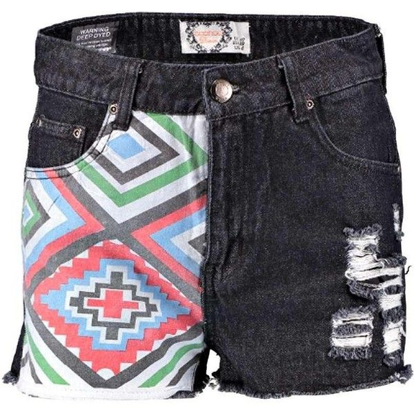 Holly Bright Aztec Denim Fray Edge Hotpants ❤ liked on Polyvore featuring shorts, micro denim shorts, denim shorts, bright colored shorts, mini denim shorts and aztec print shorts