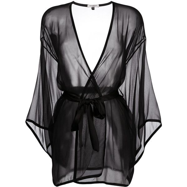 Gilda & Pearl Ava Kimono ($324) ❤ liked on Polyvore featuring intimates, robes, black, kimono lingerie, lingerie kimono, lingerie robe, silk lingerie and silk robe