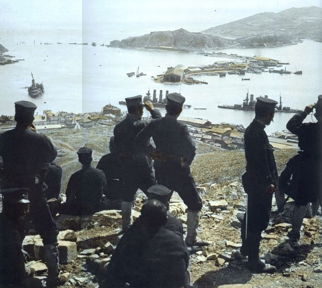 Japanese troops viewing the aftermath of the decimation of the Russian Fleet at Port Arthur, 日露戦争 Russo-Japanese War.
