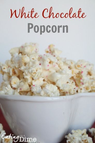 White Chocolate Popcorn is such a fun treat for any holiday. From an after school snack to Valentines Day and Christmas, this is your go to treat when you are in a pinch.  - Easy and frugal to make as a dessert!