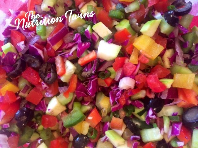 Colorful Detox Salad   Only 34 Calories for Huge Portion   Great To Flush out Toxins & Bloat After Overdoing  For MORE Inspiration & RECIPES please SIGN UP for our FREE NEWSLETTER www.NutritionTwins.com