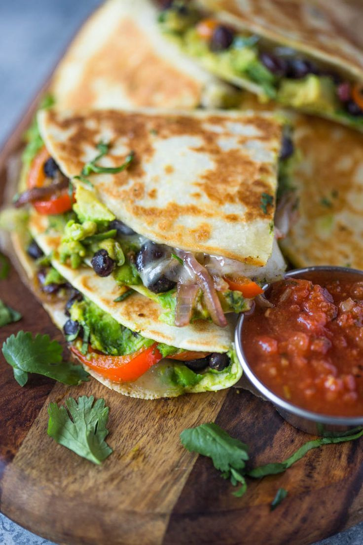 Veggie-loaded Avocado Black Bean Quesadillas