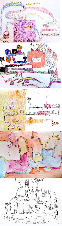 uitvindingen en machines..getekend door kinderen van 7-14 jaar..van machines die kauwgum, robotten en parfumflesjes maken..tot nog meer fantastische ideeën..
