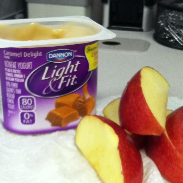 Best snack!!! Caramel low fat yogurt w/ apple slices...and only 2 WW points :)