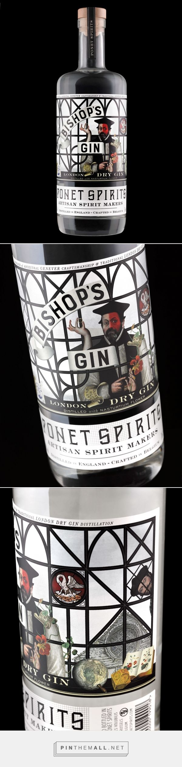 Graphic design, illustration and packaging for Ponet Bishop's Gin on Behance by Stranger & Stranger New York, NY curated by Packaging Diva PD. Ponet's ancestor was a real bishop, a maverick who turned his head from the church (hence the red face) and advocated for marriage in the clergy (hence the ring).
