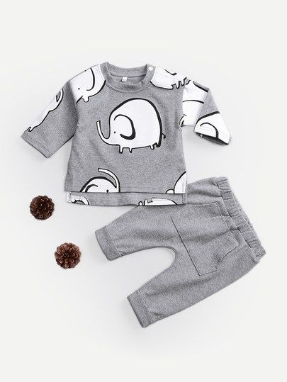 ae6f16ce0 Click to buy! #affiliatelink #ad #baby #boy #clothes #cute #fall #winter # outfit #2018 #fashion #pants #shirt #toddler #infant #set #elephant #gray  #cotton
