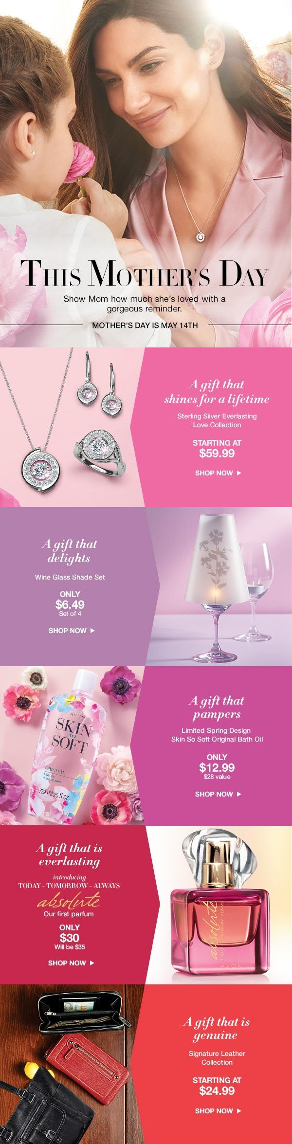 Contact RosemarieClark.AvonRep@gmail.com. Mom's Love Jewelry! Intro Prices Valid until Monday,April 17th, 2017.