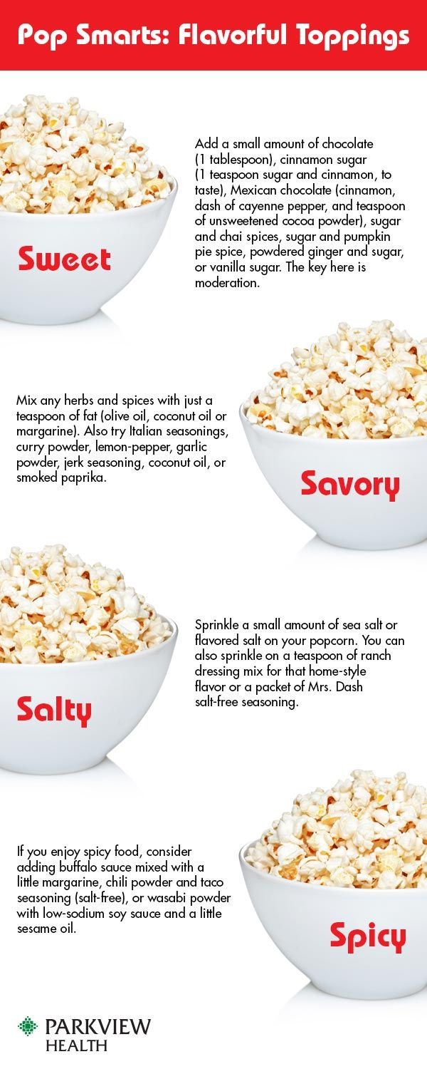 Is popcorn a healthy snack? Learn how to keep this movie theater staple healthy and add delicious seasonings for sweet, savory, salty or spicy flavor. - via @ParkviewHealth #popcorn #recipe #seasoning