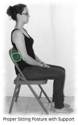 Understand proper sitting posture options and postural exercises to reduce pain from long term sitting.