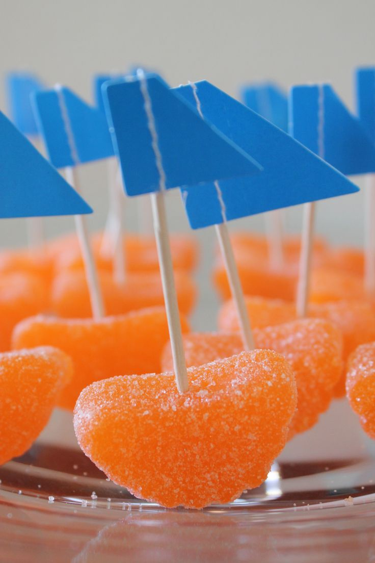orange slice sailboats | nautical baby shower candy bar | a couple of amateurs