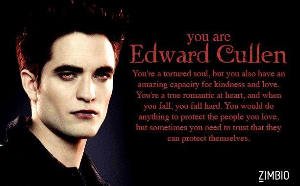 I took Zimbio's 'Twilight' quiz and I'm Edward Cullen! Who are you? #ZimbioQuiznull - Quiz