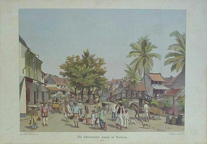 Dutch Schoolplaat, the china town in Batavia