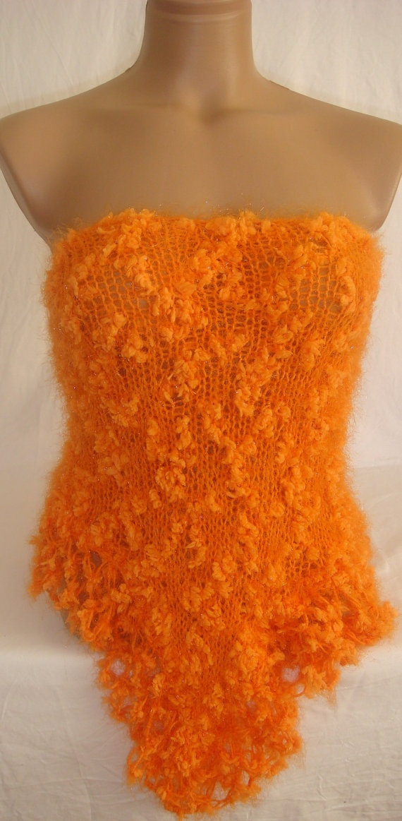 Hand knitted crocheted orange magic shawl by Arzus on Etsy, $49.00