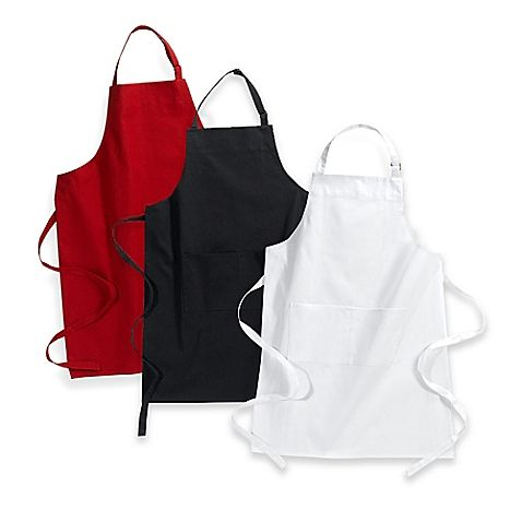 Need an apron, plain black is fine, that way it won't look nasty after I stain it with pasta sauce, and Jason could borrow it if need be