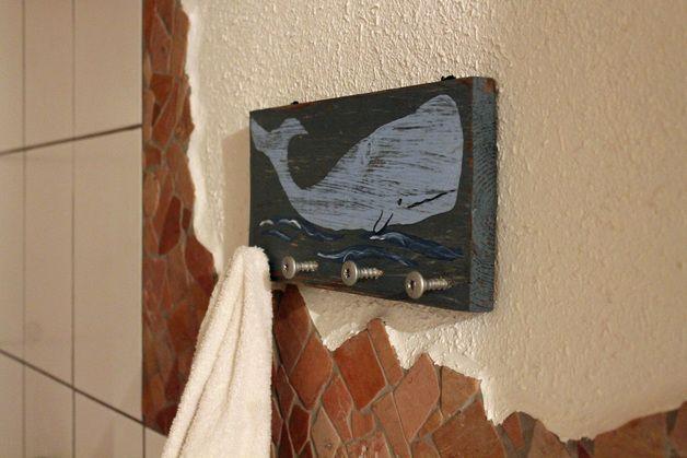 Holzschild Handtuchhalter