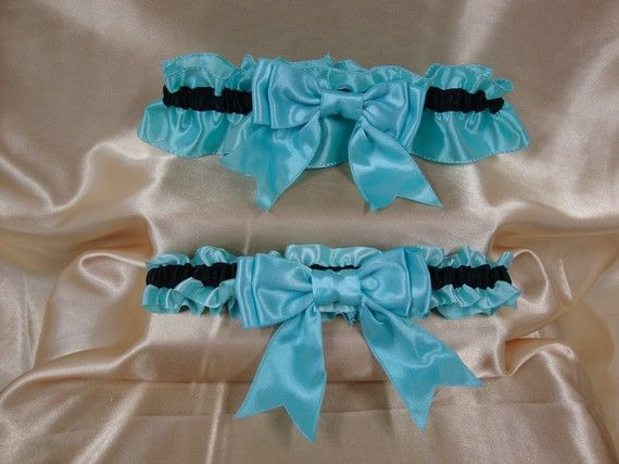 Light Blue Icy And Black Wedding Garter Set By StarBridal 2995
