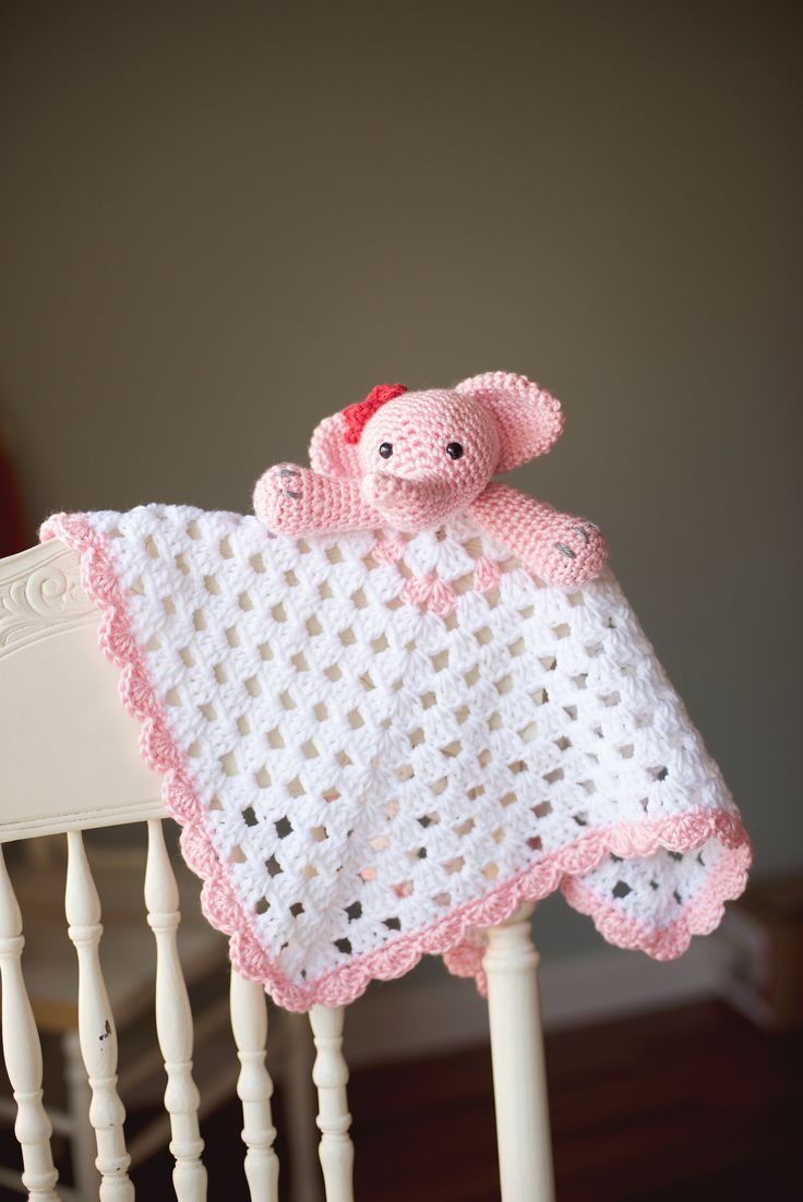 Crochet Elephant Blanket : Pink & White Elephant Security Blanket Crochet Lovey, Crochet Elephant ...
