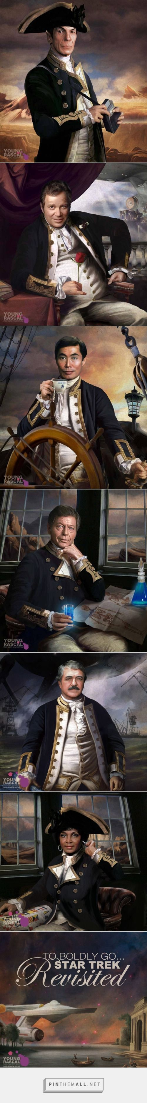 The Original Star Trek Crew In Old Naval Uniforms by Young Rascal Science Officer Spock, Commanding Officer James T Kirk, Helmsman Hikaru Sulu and, Chief Medical Officer Leonard McCoy, Chief Engineer Montgomery Scott, and Communications Officer Nyota Uhura - created via https://pinthemall.net