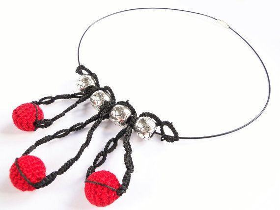 Handmade Tatting Necklace with Crochet Beads [0061nk] Necklace, Jewellery, Jewelry, Tatting, Crochet, Gift / Katarzyna Bodera Sandycraft