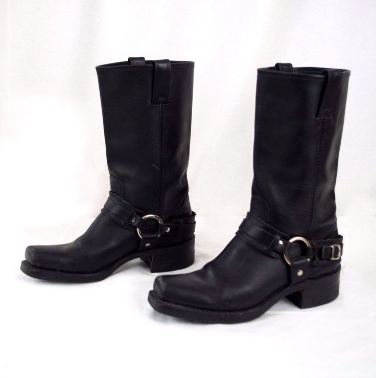 Frye Leather Motorcycle Boots 77250 Belted Harness Women's Size 9 M Black #Frye #Motorcycle #Riding