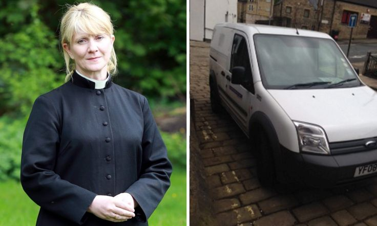 Reverend photographs wardens' van parked on double yellow lines