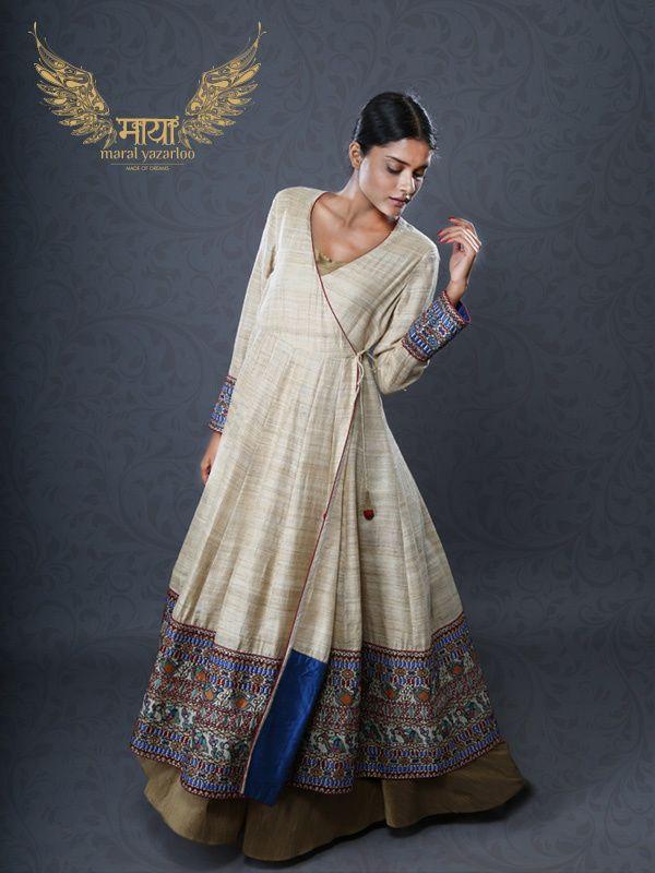 Indian Suits - Angrakha | Off White Khadi Floor Length Angrakha with Broad Blue Print Border, Dull Gold Flared Skirt | WedMeGood #wedmegood #anarkali