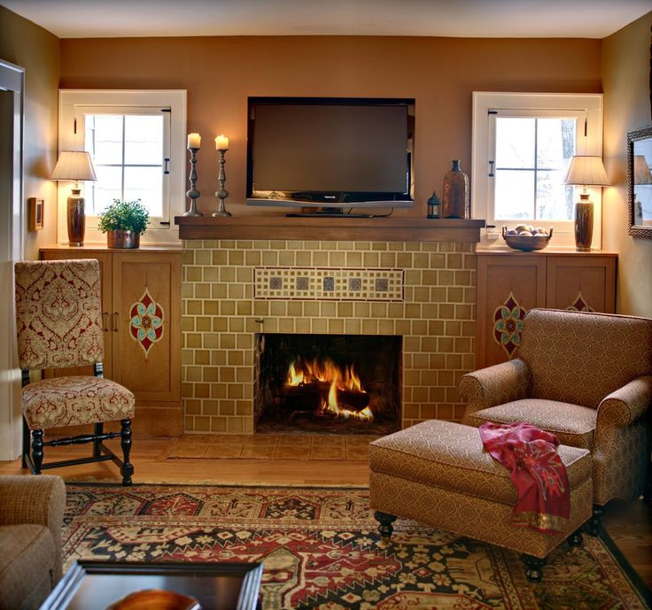 Craftsman fireplace home office craftsman with recessed lighting ...