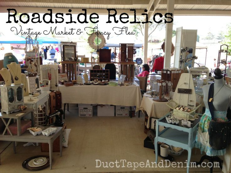 My space at Roadside Relics Vintage Market, Livermore, California, April 2014.  Note to self - make a longer tablecloth to hide my boxes! | DuctTapeAndDenim.com