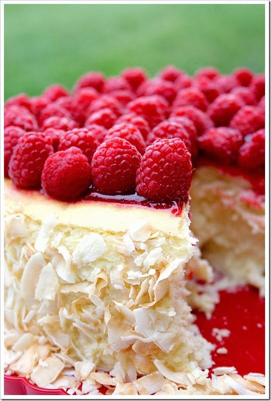 Toasted coconut and raspberry cheesecake | Just a good recipe, um, yes please