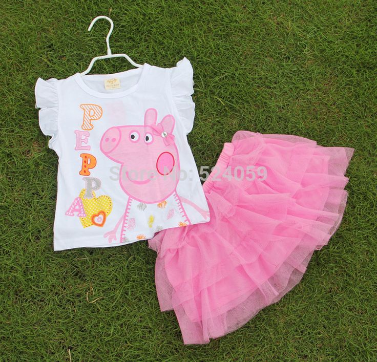 Children Clothing Girls Tutu Summer Girl's Peppa Pig Set T-shirt & Yarn Skirt Short Sleeve & Sleeveless Style