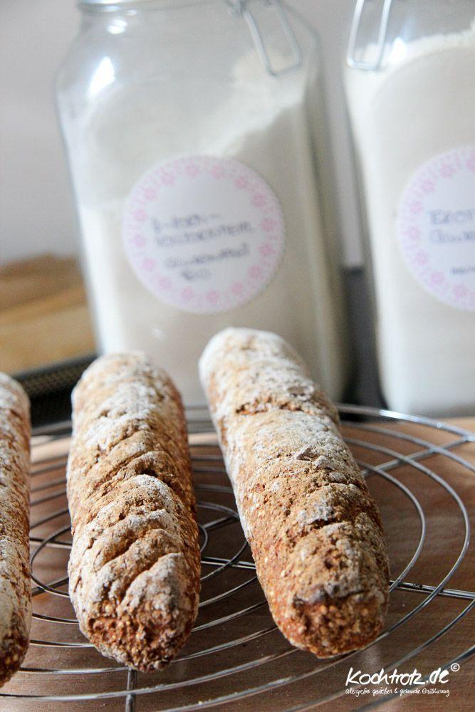 Rustikale Möhren-Quinoa-Baguettes, hefefrei und glutenfrei – optional mit Dinkelmehl