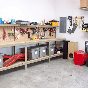 4 Garage Update Ideas 1. Push three small workbenches together along one wall to do the work of one long bench.2. Paint concrete floors with an epoxy garage floor covering.3. Take advantage of unused space with an overhead garage storage system.4. Cover an entire wall with pegboard to hang most-used tools and yard equipment in plain sight and within easy reach.